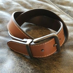 FOSSIL Light Brown/Dark Brown Reversible Belt NWT